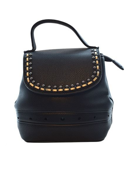 Minimalistic chic black mini backpack detailed