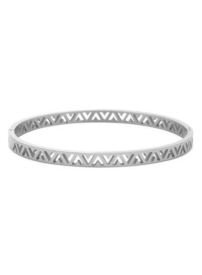 Silver colored minimalist chic V bangle bracelet