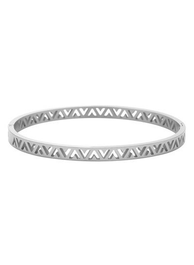 Zilverkleurige minimalist chic bangle armband met V