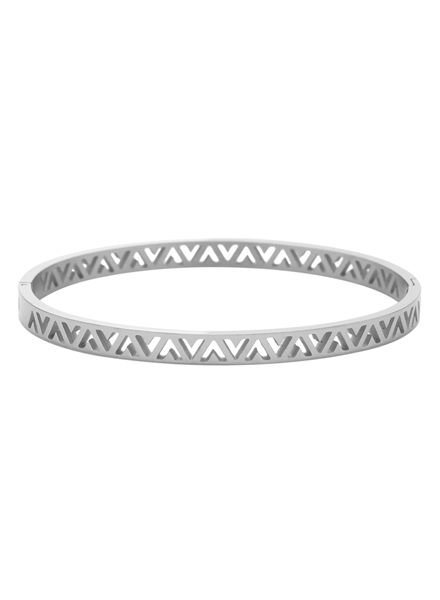 Silver colored minimalist chic V bangle bracelet