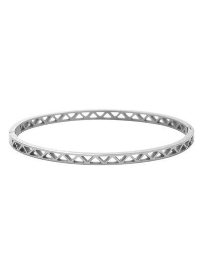 Minimalist chic bangle bracelet triangles silver colored