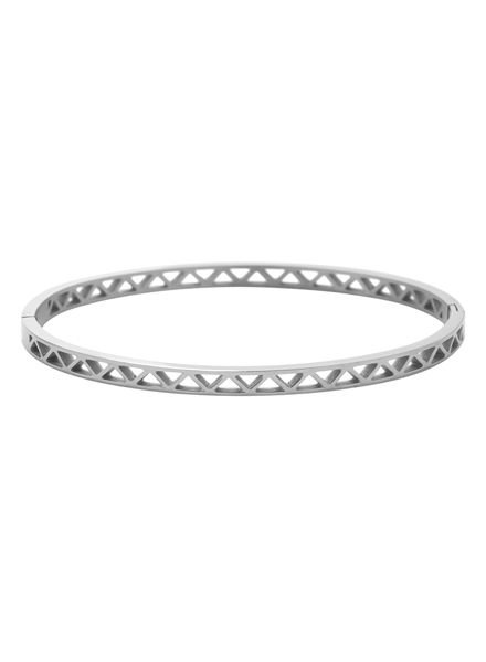 Minimalist chic bangle bracelet triangles silver colored