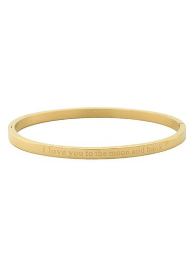 Minimalist chic bangle bracelet 'to the moon and back' gold colored