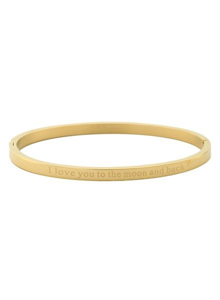 Minimalist chic bangle armband 'to the moon and back' goudkleurig