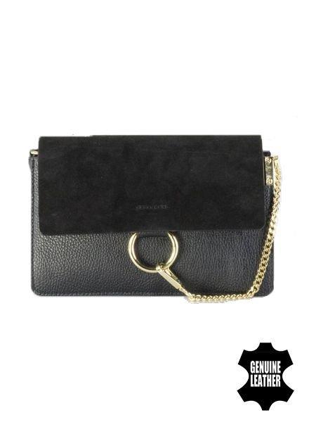 Lederen minimalist chic crossbody tas zwart