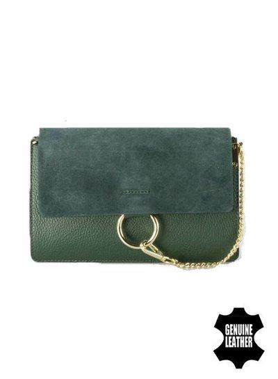Leather minimalist chic crossbody bag green