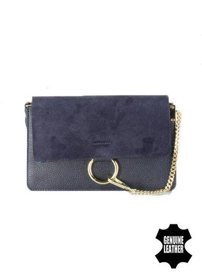 Leather minimalist chic crossbody bag navy blue
