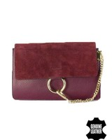 Leather minimalist chic crossbody bag burgundy red