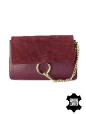 Lederen minimalist chic crossbody tas bordeauxrood