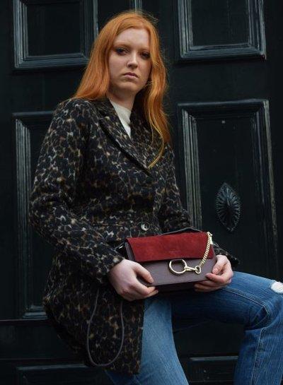 Leather minimalist chic crossbody bag burgundy red