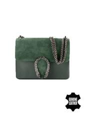 Leather minimalist chic crossbody bag animalier green
