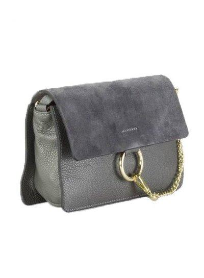 Leather minimalist chic crossbody bag grey