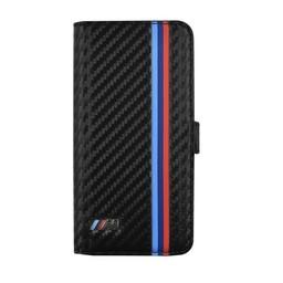 BMW Apple iPhone 6 / 6S BMW Carbon-Look Bookcase hoesje met strepen - Zwart