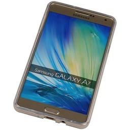 Puloka TPU Siliconen hoesje voor de achterkant van de Samsung Galaxy A7 - Transparant / Grijs / Roze