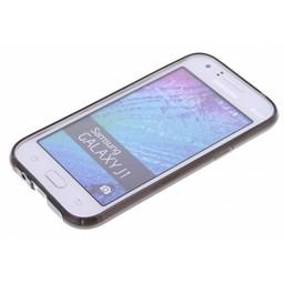 Puloka TPU Siliconen hoesje voor de achterkant van de Samsung Galaxy J1 - Transparant / Grijs / Bruin
