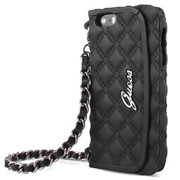 Guess vrouwen Quilted Collectie iPhone 6 / 6s Originele Silicone Clutch Case hoesje - zwart