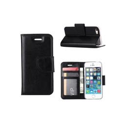 Luxe lederen Bookcase hoesje voor de Apple iPhone 5G / 5S / SE - Zwart