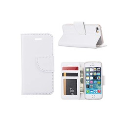 Luxe lederen Bookcase hoesje voor de Apple iPhone 5G / 5S / SE - Wit