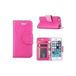 Luxe lederen Bookcase hoesje voor de Apple iPhone 5G / 5S / SE - Roze