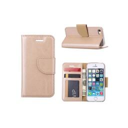 Luxe lederen Bookcase hoesje voor de Apple iPhone 5G / 5S / SE - Goud