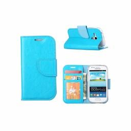 Luxe lederen Bookcase hoesje voor de Samsung Galaxy S3 Mini - Blauw