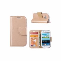 Luxe lederen Bookcase hoesje voor de Samsung Galaxy S3 Mini - Goud