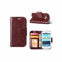 Luxe lederen Bookcase hoesje voor de Samsung Galaxy S3 Mini - Bruin