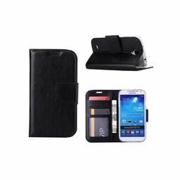 Luxe lederen Bookcase hoesje voor de Samsung Galaxy S4 - Zwart