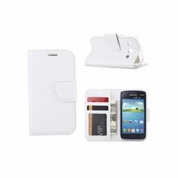 Luxe lederen Bookcase hoesje voor de Samsung Galaxy Core I8260 - Wit