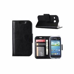 Luxe lederen Bookcase hoesje voor de Samsung Galaxy Core I8260 - Zwart