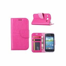 Luxe lederen Bookcase hoesje voor de Samsung Galaxy Core I8260 - Roze
