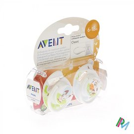 AVENT Philips Avent Sucette Animaux Silicone Double 6-18m 2 SCF182/24