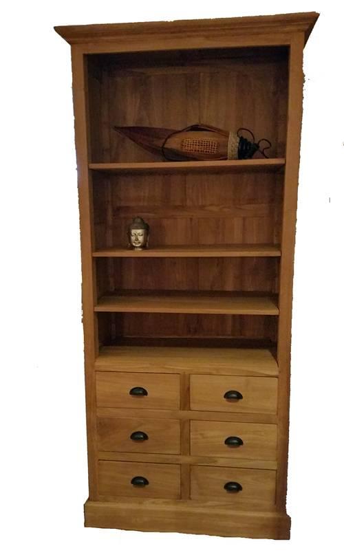 Boekenkast teak met laden | Dessa meubelen, de teak speciaalzaak!
