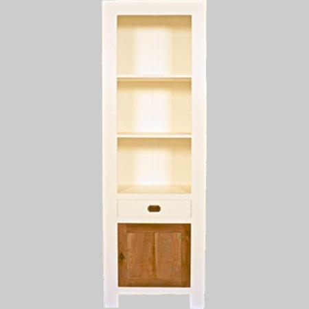 boekenkast white wash met teak