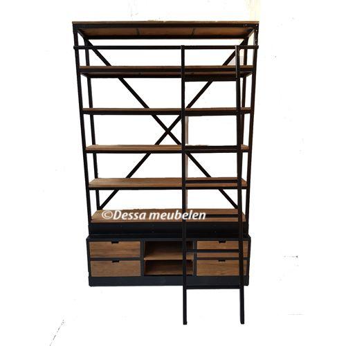 Boekenkast Bien met ladder | Dessa meubelen, de teak speciaalzaak!