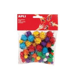Apli Kids Apli gekleurde glitter pompons, pak van 78 stuks