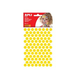 Apli Kids Apli Stickers cirkels, geel, diameter: 10,5 mm, 588 stuks