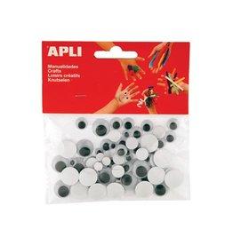 Apli Kids Apli bewegende ogen rond zwart 100 stuks [5st]