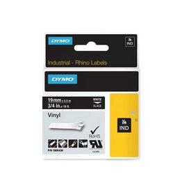 Dymo RHINO tape vinyl, ft 19 mm x 5,5 m, wit op zwart [5st]