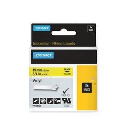 Dymo Dymo RHINO vinyltape 19 mm x 5,5 m, zwart op geel
