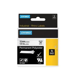 Dymo Dymo RHINO permanente polyester tape 12 mm, zwart op wit