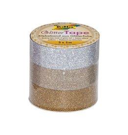 Folia Folia glittertape zilver en goud rolletje met 3 stuks