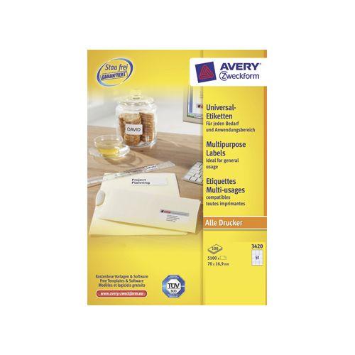 Etiket Avery Zweckform 3420 70x16.9mm wit 5100stuks