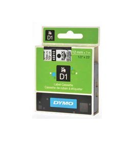 Dymo Dymo D1 tape 12 mm, zwart op transparant