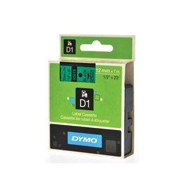 Dymo Dymo D1 tape 12 mm, zwart op groen