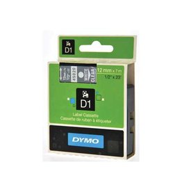 Dymo Dymo D1 tape 12 mm, wit op transparant