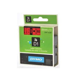Dymo Dymo D1 tape 19 mm, zwart op rood