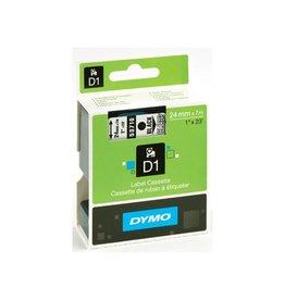 Dymo Dymo D1 tapes ft 24 mm x 7 m, transparant/zwart [5st]