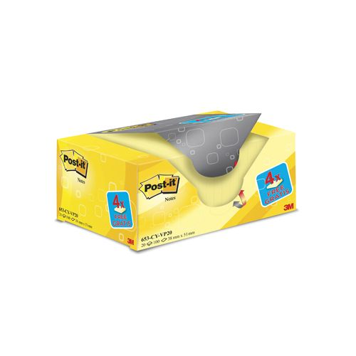 Post-it Notes,38x51mm,geel,blok 100vel,pak 16+4 gratis