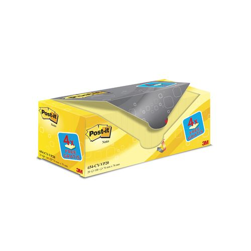Post-it Notes, 76 x76 mm, geel, 100vel,pak van 16 + 4 gratis